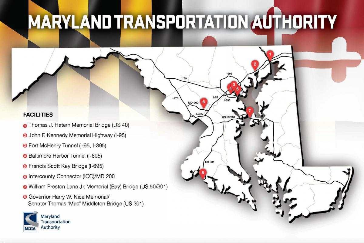 Map of MDTA Toll Facility Locations - Detailed information listed below.