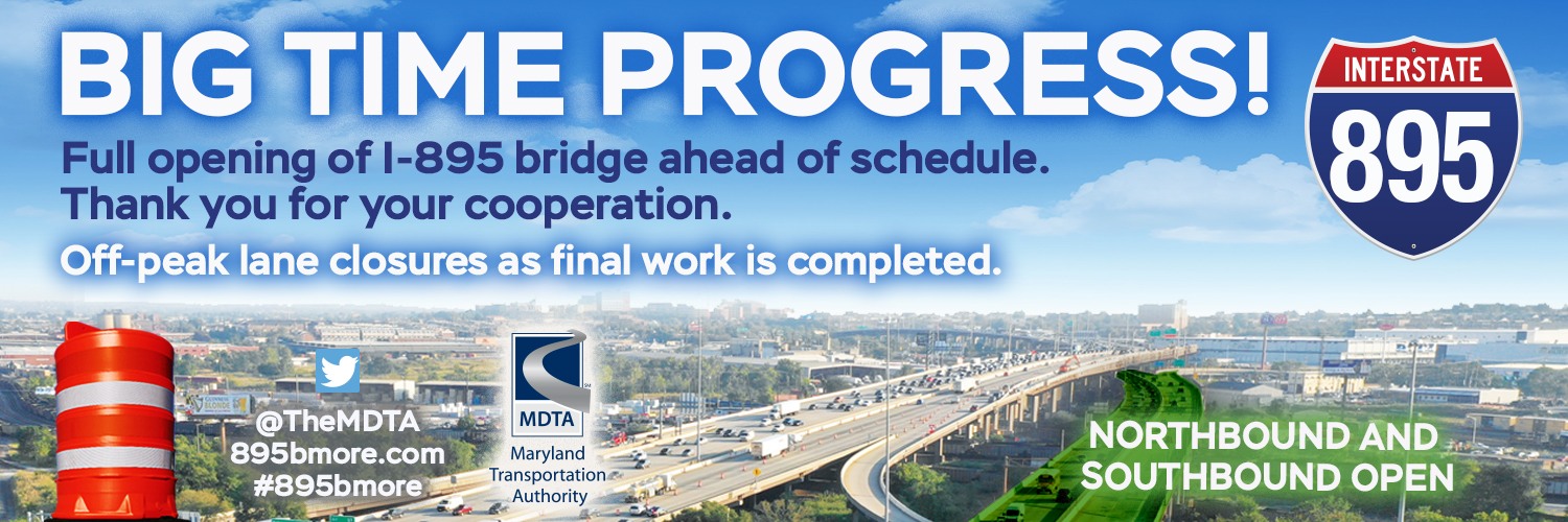 Full opening of I-895 bridge ahead of schedule.